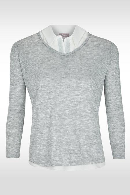 Pull chemise 2 en 1, maille lurex - Argent