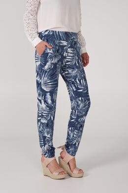 Pantalon en maille imprimé palmes, Marine