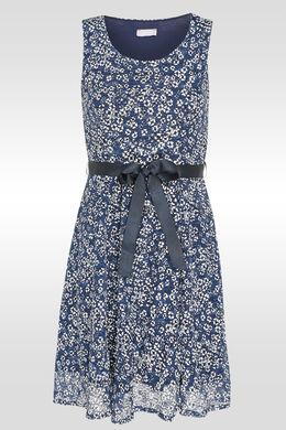 Mouwloze jurk met bloemetjesprint, Indigo