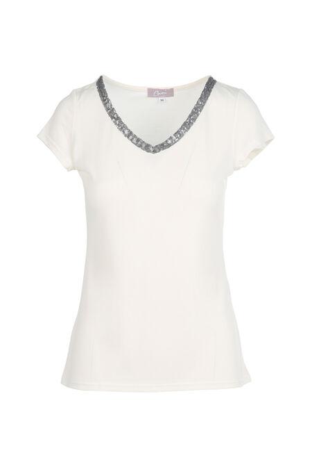 T-shirt uni avec encolure en V orné de sequins - Ecru