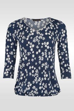 T-shirt in koel bloementricot,  | Cassis