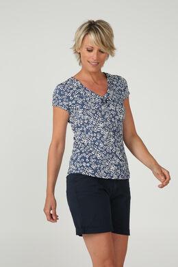 T-shirt soepel tricot en gom, Marineblauw