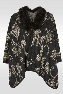 Poncho imprimé arabesque col fourrure, Anthracite