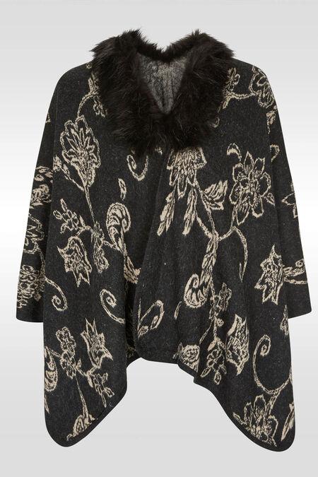 Poncho imprimé arabesque col fourrure - Anthracite
