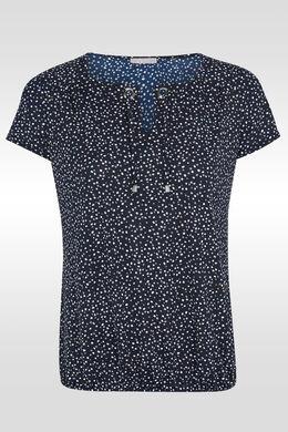 T-shirt met ringen en gestipte hals, Marineblauw
