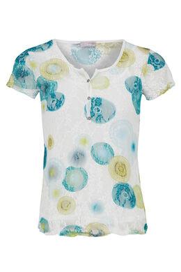 T-shirt in bedrukte kant, Turquoise