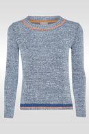 Trui in gevlamd tricot, Blauw