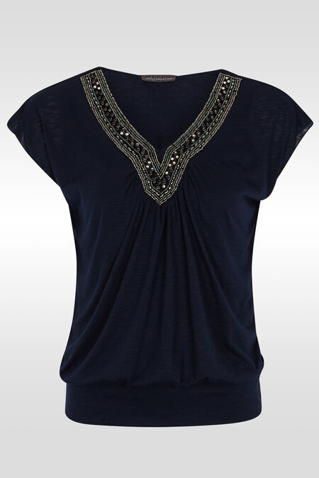 T-shirt manches T, plastron perles - Marine
