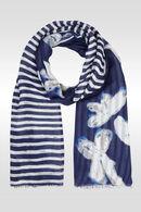 Foulard patchwork fleurs et lignes, Marine