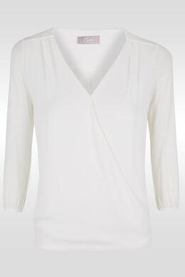 Wikkel-T-shirt in twee stoffen, Ecru
