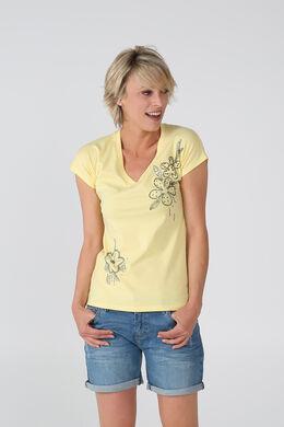 Katoenen T-shirt met kralenbloemen, Geel