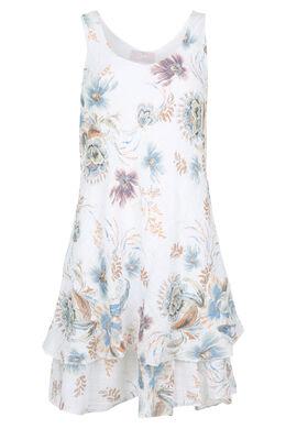 Linnen jurk met bloemenprint, Wit