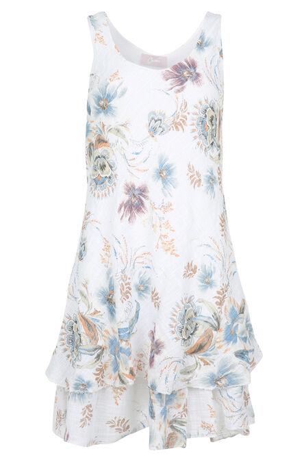 Robe en lin imprimé de fleurs - Blanc