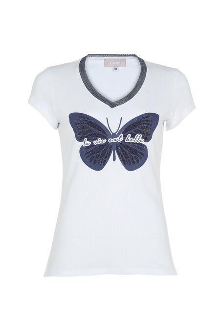 T-shirt 'La vie est belle' - Wit