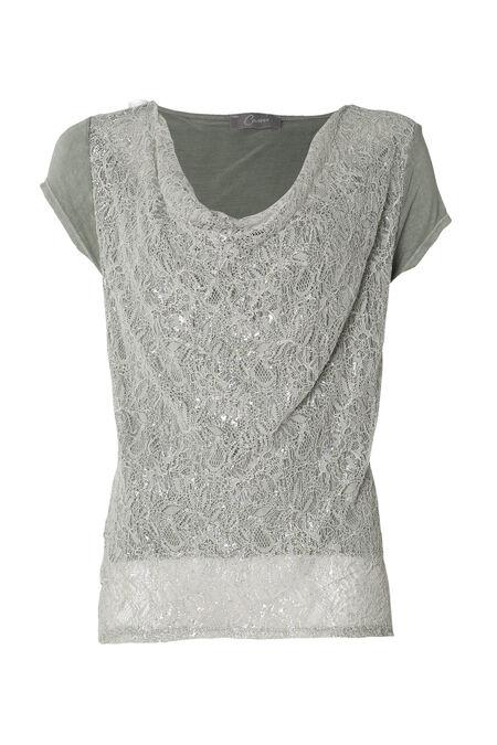 T-shirt met lurex en kant - Amandelgroen