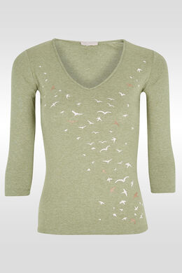 T-shirt print/lovertjes vliegende vogels, Olijfgroen