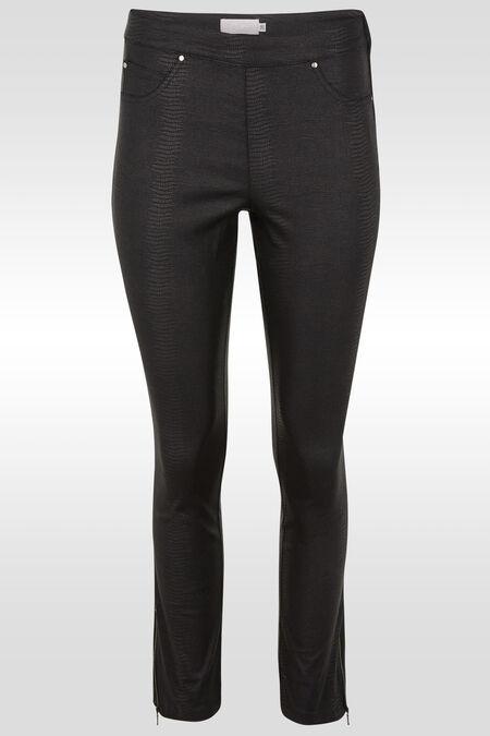 Slim broek met slangenhuidprint - Zwart