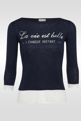 T-shirt bi-matière, print texte, Marine