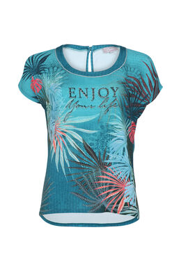 T-shirt imprimé avec texte à clous, Turquoise