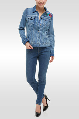 Jeansvest met borduursel, Denim