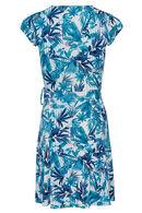 Jurk met lijnen en bladeren, Turquoise