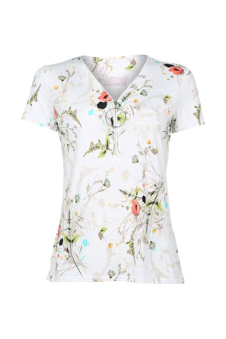 T-shirt encolure zippé avec anneau - Ecru