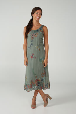 Lange jurk met bloemenprint, Kaki