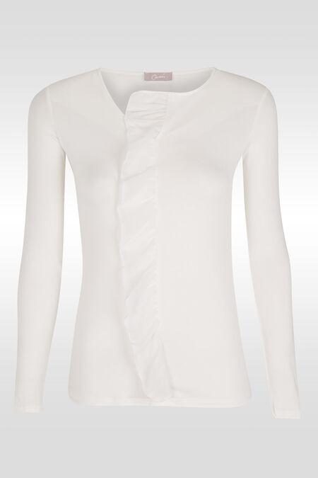 T-shirt met rushes vooraan - Ecru