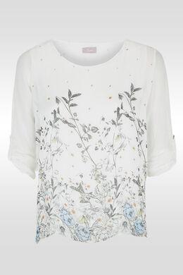 Tunique imprimé botanique, Blanc