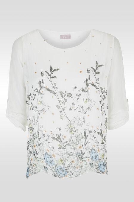 Tuniek met botanische print - Wit