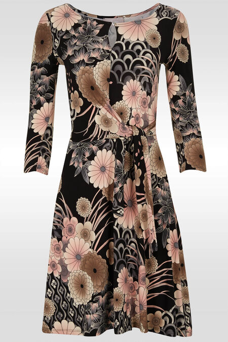 Robe fleurie en maille froide - Vieux rose