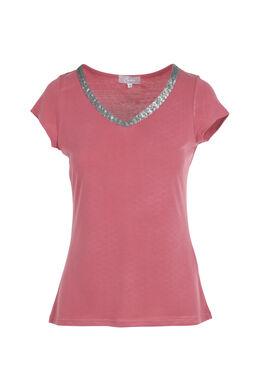 Effen T-shirt met V-hals en lovertjes, Framboos