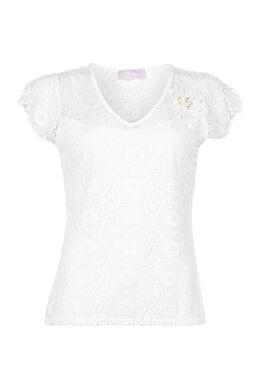T-shirt van kant, Ecru