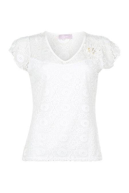 T-shirt van kant - Ecru