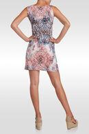 Rechte jurk met strashals, Lichtblauw