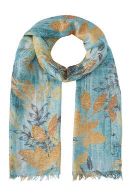 Foulard met bladerprint, Turquoise