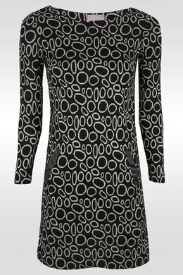 Robe imprimée de cercles, Noir/Ecru