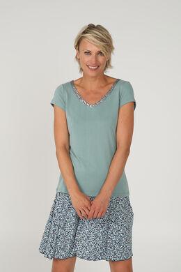 Effen T-shirt met V-hals en lovertjes, Appelblauwzeegroen