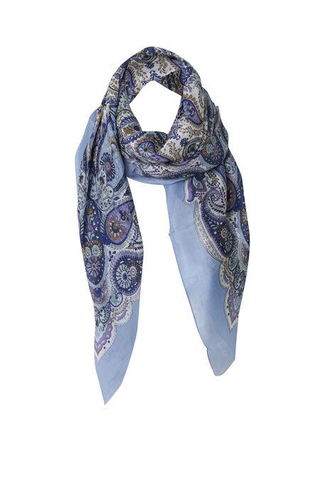 Carré de soie imprimé paisley - Bleu Delphes
