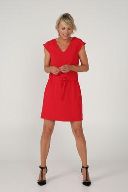 Elegante jurk met volantmouwen, Rood