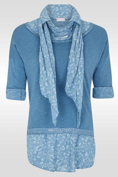 Pull 2en1 avec chemise fleurie et sequins - Bleu Delphes