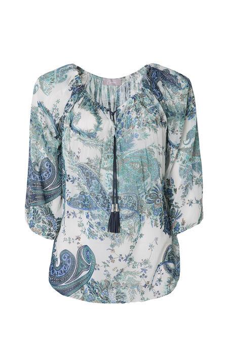 Tunique imprimé cashmere - Turquoise