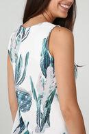 Rechte jurk met pluimenprint, Ecru