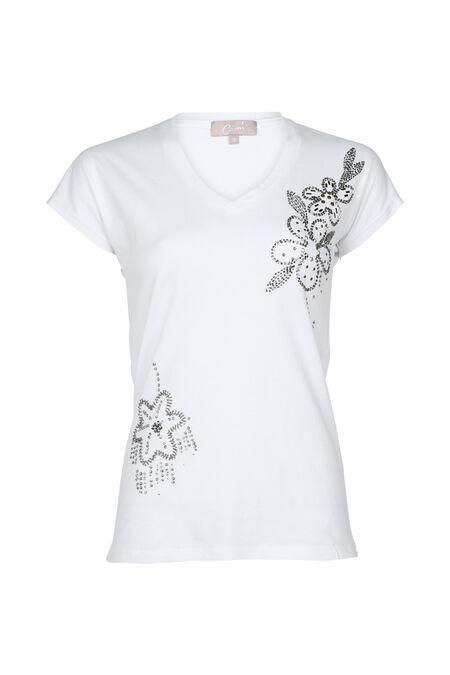 Katoenen T-shirt met kralenbloemen - Wit