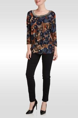T-shirt met parelhals, geometrische print,  | Cassis