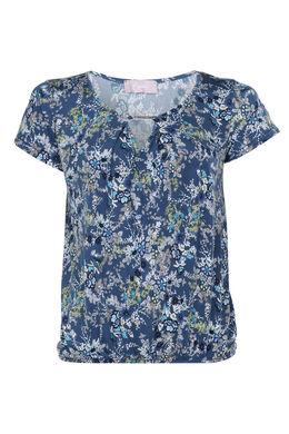 T-shirt met juweel aan de hals, Marineblauw