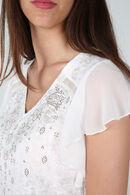 T-shirt dessin de strass et de clous, Ecru