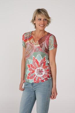 T-shirt 2en1 en dentelle imprimée, multicolor