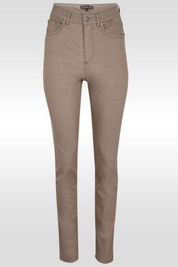 Pantalon push up taille haute slim, Taupe