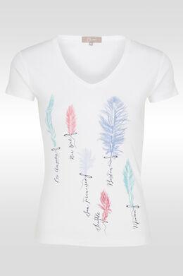 T-shirt en coton print plumes, Blanc
